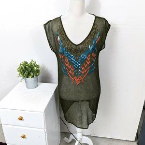 ECOTE Urban Outfitters Green Beaded Sheer Tunic